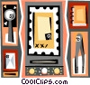 paper binder, envelope, and hole punch Vector Clipart picture