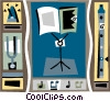 music stand with flute, and tuning fork Vector Clip Art picture