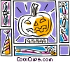 pumpkin motif, with a bat, and candles Vector Clip Art picture