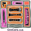 Vector Clip Art image  of a hair roller with blow dryer