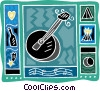 Vector Clipart graphic  of a banjo with music notes