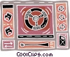 steering wheel  racing gloves, gas tank Vector Clipart picture