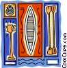 Vector Clip Art graphic  of a canoe racing with paddles