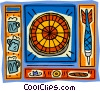 Dartboard motif, with darts and beer Vector Clipart picture