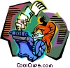 Vector Clip Art image  of a the mad typist