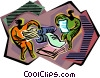 working at the printers Vector Clip Art picture