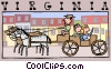 Vector Clip Art image  of a people in horse drawn carriage