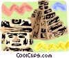 Aztec pyramids with warrior statue Vector Clip Art image
