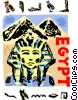 Vector Clip Art image  of a Egyptian sphinx with pyramids