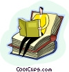 Vector Clip Art image  of a Sitting books reading a book