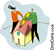 Putting money into the house Vector Clip Art graphic