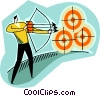 shooting bow & arrow at target Vector Clipart illustration