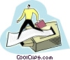 Vector Clip Art picture  of a man walking on printer