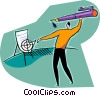 Vector Clipart graphic  of a man throwing pen at target