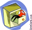 Vector Clip Art image  of a taking a nap in a drawer