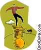 Vector Clipart illustration  of a man balancing on coins