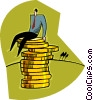 business metaphor, man on top of coins Vector Clipart graphic