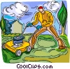 Vector Clip Art graphic  of a man cutting lawn