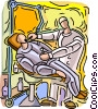 Vector Clipart image  of a Dentist with patient