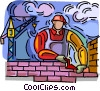 Vector Clip Art image  of a brick layer