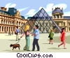 Couple walking dog in market square in Paris Vector Clipart image