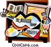 Picassos guitar Vector Clipart illustration