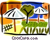 park scene with umbrellas Vector Clipart image