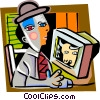Picassos man checking the stock market Vector Clip Art image