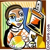 Picassos man painting picture Vector Clipart illustration