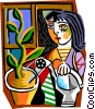 Vector Clipart illustration  of a Picassos women watering plant