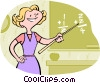 Vector Clip Art graphic  of a Teacher in math class