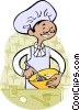 Vector Clip Art picture  of a making a cake