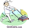 cutting the grass Vector Clip Art image
