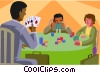 people playing cards Vector Clip Art graphic
