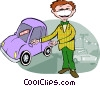 Salesman, car salesman, automobile Vector Clipart illustration