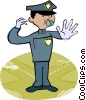 policeman directing traffic Vector Clipart illustration