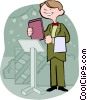 hostess at restaurant Vector Clipart graphic