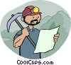 Vector Clipart illustration  of a miner looking at plans