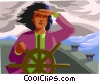 Vector Clipart graphic  of a sailing through the storm