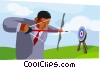 business metaphor, hitting the target Vector Clipart picture
