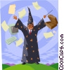 with wizard, paper and computer Vector Clipart illustration