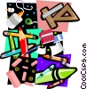 craft pencils, glue, crayons, rulers Vector Clip Art graphic