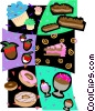 dessert motif, cakes, donuts, chocolate Vector Clip Art graphic