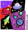 space motif, planets, space craft, ufo Vector Clipart image