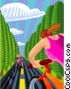 Vector Clipart illustration  of a People on a bike ride