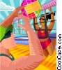 Beach volleyball Vector Clipart image