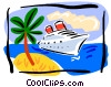 cruise ship, tropical island Vector Clipart illustration
