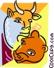 bull and bear stock market Vector Clip Art picture