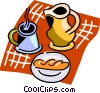 Danish pastry, coffee mug and pot Vector Clipart illustration