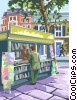Vector Clip Art graphic  of a London newsstand